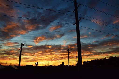 Powerlines, Energy, Utility, Sunset, Voltage, Power