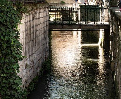 Avignon, City, Canal, Walkway, Walking Bridge, Water