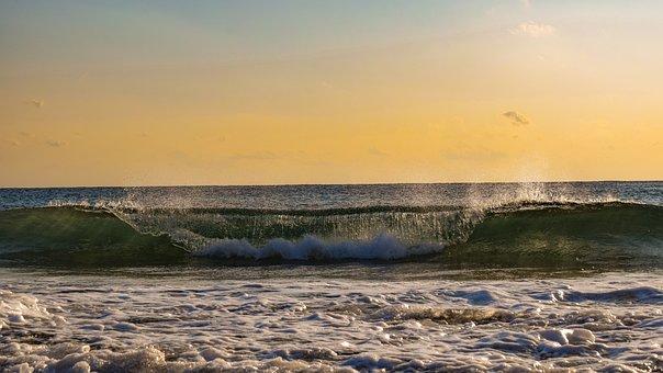 Wave, Sunset, Sea, Evening, Sky, Clouds, Nature