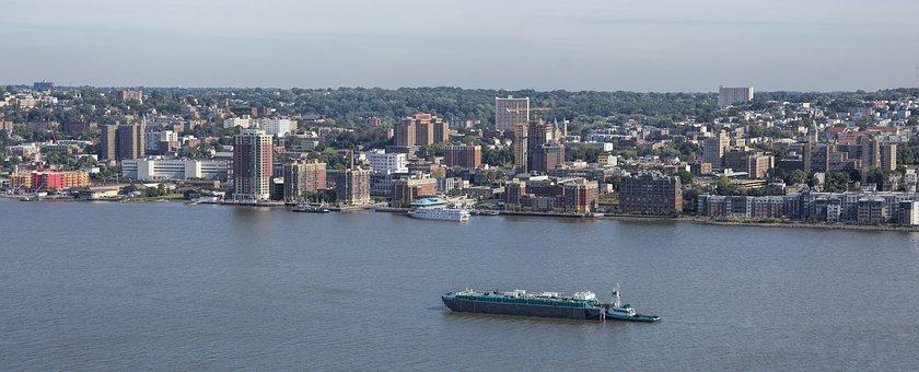 Hudson River, River, New York, Yonkers, Shipping