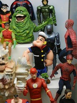 Jabba, Spiderman, Superman, Batman, Robocop, Cartoon