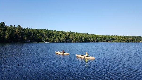 Kayak, Water, Lake, Pond, Trees, Adventure, Canoe