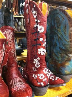 Boots, Cowboy, Cowgirl, Red, Shoe, Rodeo, Ranch