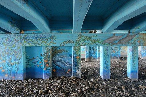 Bridge, Artwork, Tunnel, Rocks, Creakbed, Marine