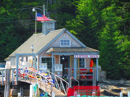 Clifton Dock, Dock, Maine, American Flag, Harbour