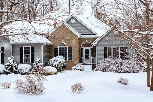 Winter, Snow Scene, House, Home, Brick, Vinyl Siding