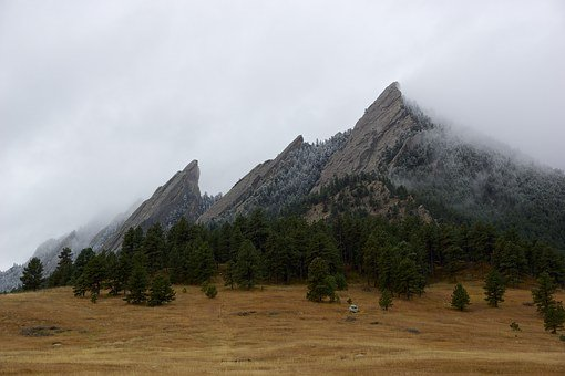 Mountains, Misty, Colorado, Flatirons, Landscape