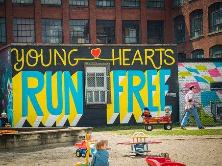 Graffiti, City, Kids, Children, Playground, Sandbox