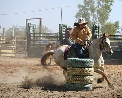 Barrel Racing, Cowboy, Rodeo, Western, Horse, Barrel