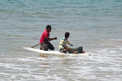 Sea, Raft, Rowing, Arabian, Goa, India