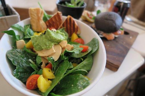 Salad, Lettuce, Vegetables, Tomatoes, Avocado, Spinach
