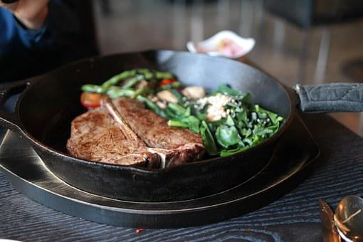 Steak, T-bone Steak, Spinach, Skill And Chocolate