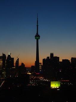 Toronto, Canada, Night, Skyline, Cn Tower, Downtown
