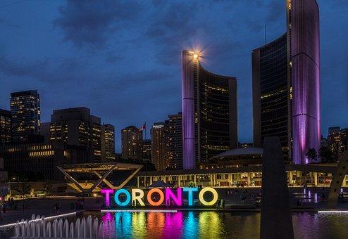 Toronto, Skyline, Canada, Ontario, Town Hall, Night