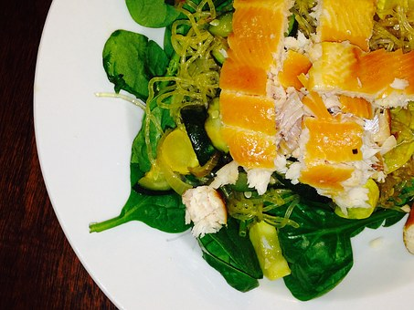 Smoked Trout, Kelp Noodles, Spinach
