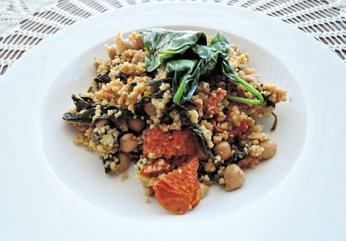 Curried Couscous, Spinach, Chick Peas