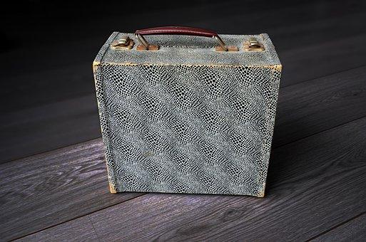 Vintage Portable Vinyl Record Box, Vintage, Music