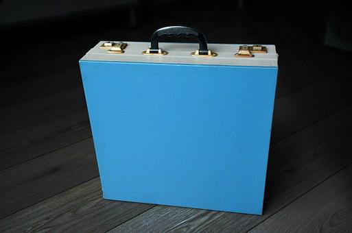 Vintage Portable Vinyl Record Box, Vintage, Music