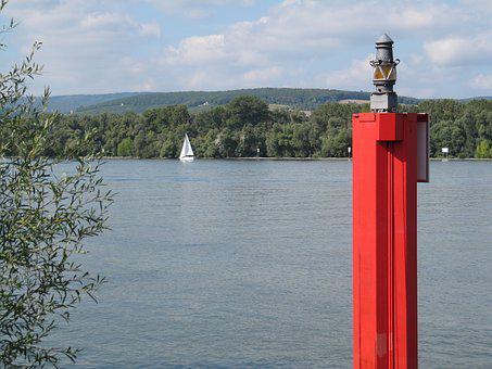 Water Filling Station, Water, Rhine, Sail, Signal