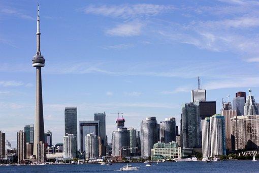 Toronto, City, Coastal City, Tower, Cnm Tower, Water