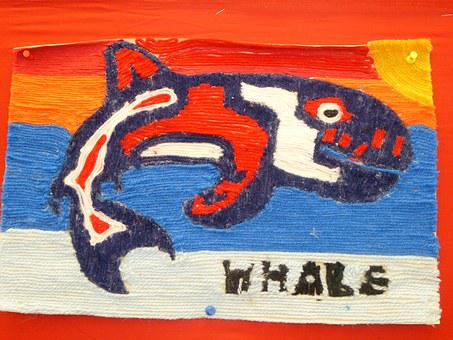 Whale, First Nations, Yarn, Art, Hand Made, Picture