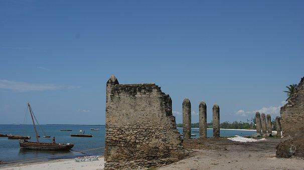 Boats, Dowe, Shore, Beach, Ocean, Water, Zanzibar