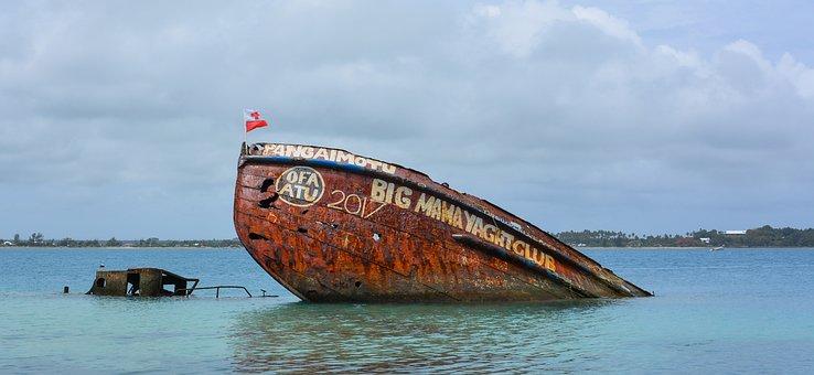 Shipwreck, Ocean, Sea, Rusty, Abandoned, Ship, Travel