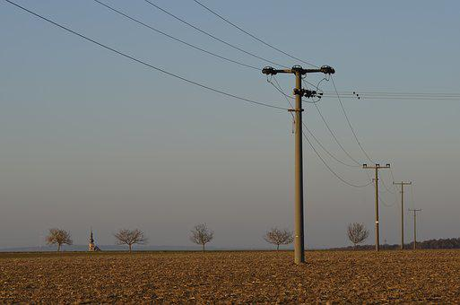 Arable, Field, Landline, Overhead Line, Current, Energy