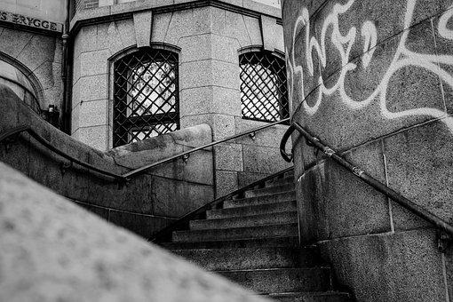 Stairs, Black White, Architecture, City, Copenhagen
