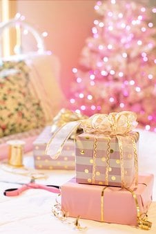 Christmas, Pink, Presents, Christmas Tree, Bedroom