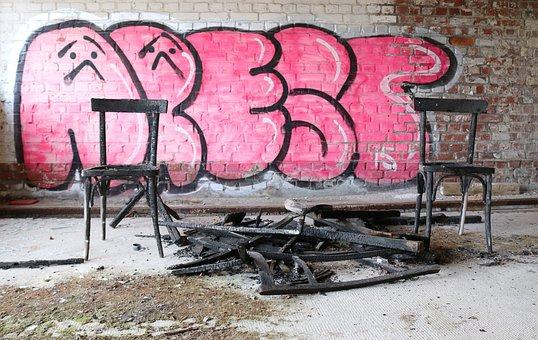 Chairs, Burnt Wood, Graffiti