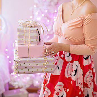 Christmas, Pink, Presents, Stack Of Gifts, Gifts