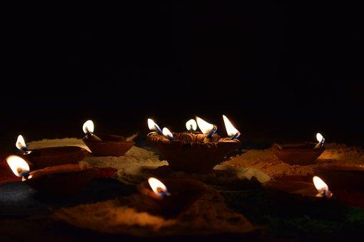 Diya, Diwali, Orange Flame, Fire, Oil Lamp, Night, Dark