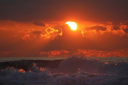 Sea, Sunset, Water, Sky, Evening, Landscape, Reflection