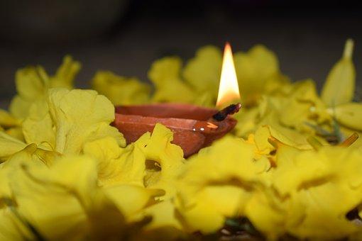 Diya, Fire, Diwali, Yellow, Flower, Flame, Orange Flame