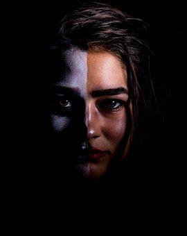 Woman, Face, Portrait, Half, Paint, Bodypaint