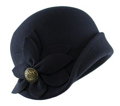 Hat Retro, Hat Vintage, Filcowy, Felt, Navy Blue