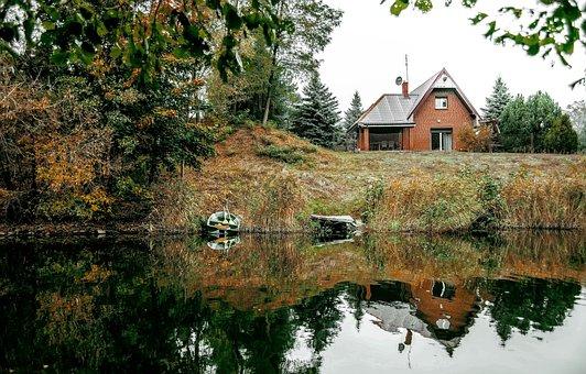 House, Cottage, River, Bridge, Boat, Water, Pond