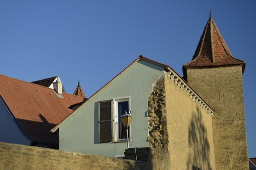 House, City Wall, Architecture, Spire, Village, Tower