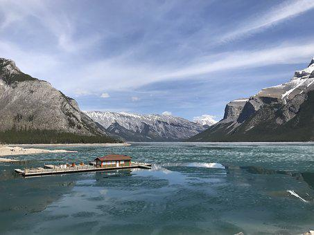 Lake, Frozen, Cold, Winter, Ice, Mountains, Landscape