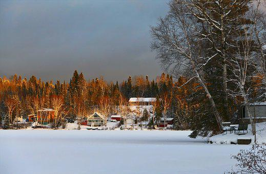 Landscape, Winter, Nature, Snow, Cold, Trees, Chalets