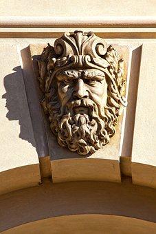 Head, Man, Face, Male, Portrait, Sculpture, Castle