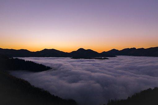 Sunset, Mountains, Fog, Alpine, Landscape, Nature, Sky