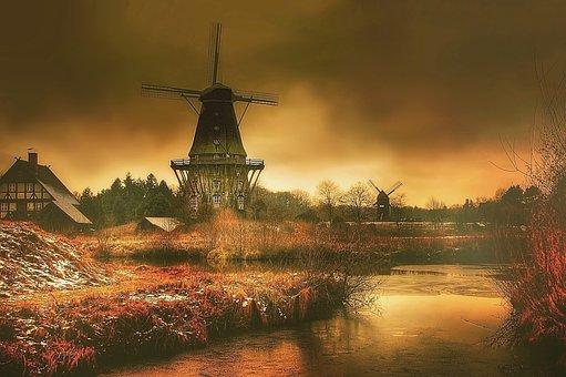 Mill, Darkness, Mytic, Dark, Sky, Landscape, Windmill