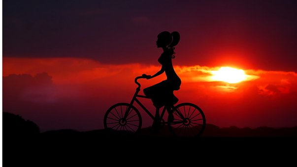 Sunrise, Silhouette, Bike, Promenade, Nature, Summer