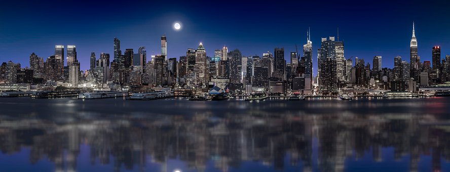 Manhattan, Nyc, Skyline, Night