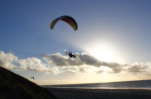 Paraglider, Beach, Paragliding, Backlighting, Clouds