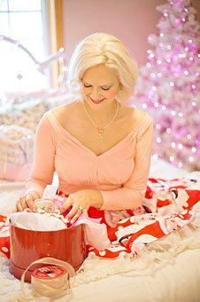 Christmas, Pink, Presents, Wrapping Gifts, Gifts