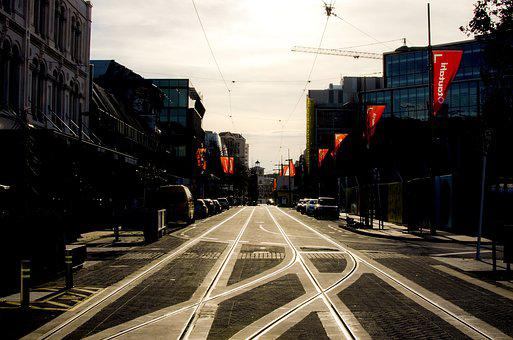 Christchurch, Tram Tracks, Reflection On Tracks