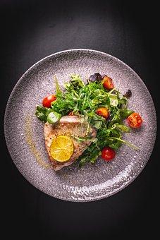 Tuna, Steak, Food, Salad, Plate, Wakame